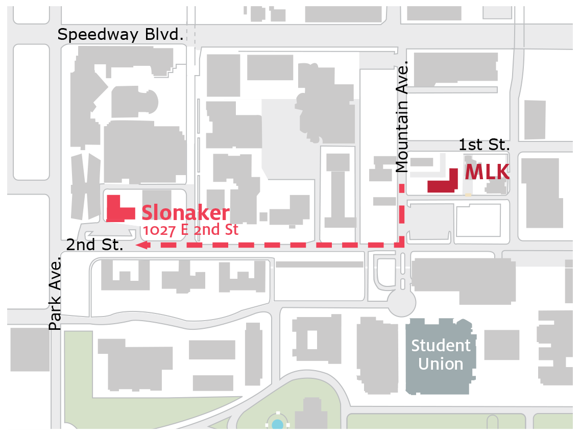 Map showing move from MLK building to Slonaker House on 2nd Street at Park Avenue