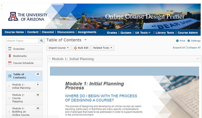 UA's Online Course Design Primer offers step by step modules for online course development