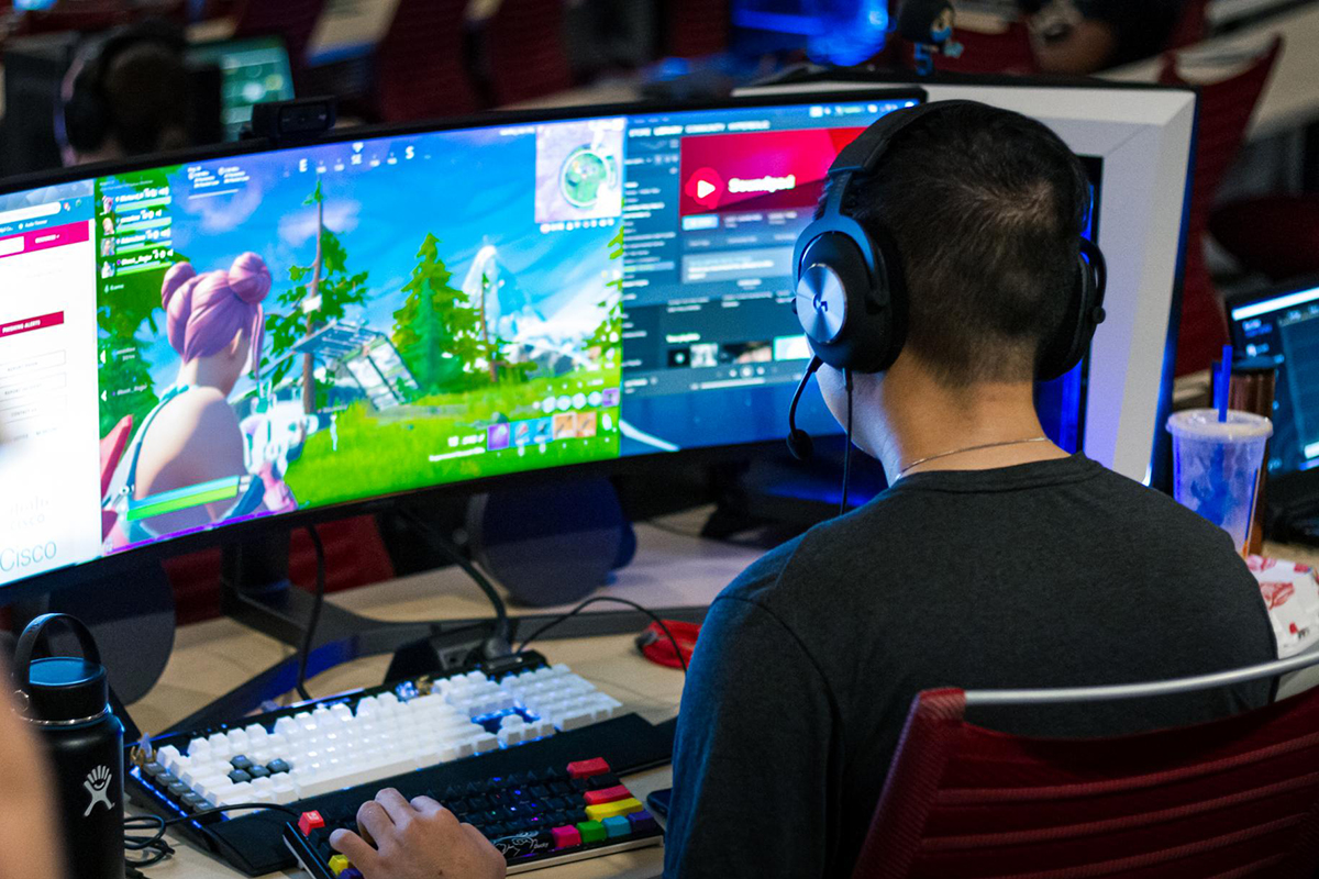 student competing in a video game