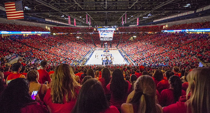 basketball fans at a game in McKale