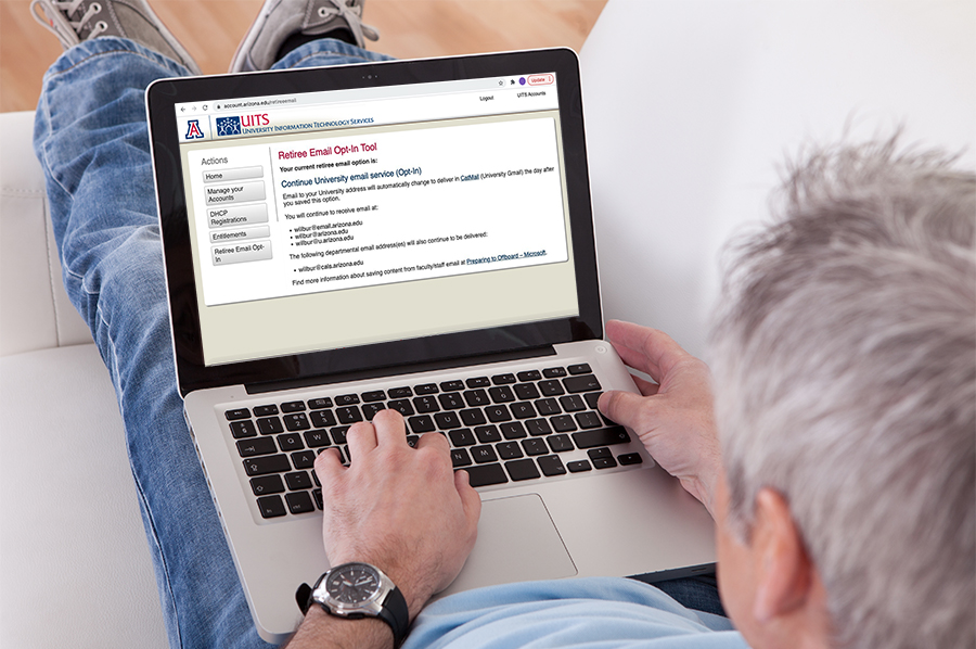 retiree using the email opt-in portal