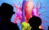An image of people interacting with a virtual 3D environment