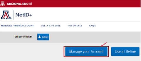 Manage your Account button