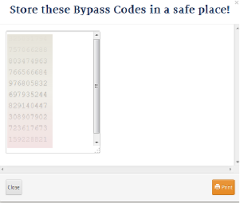 Bypass codes list