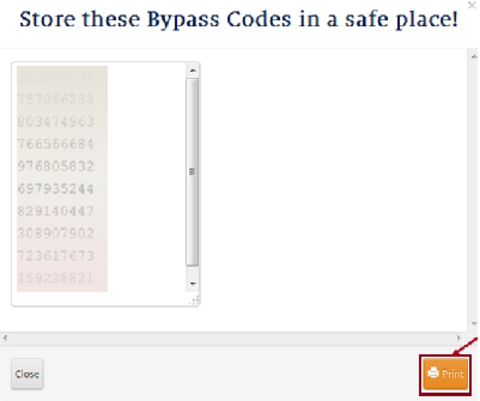 Bypass codes