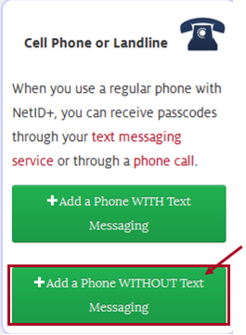 Add phone without text messaging