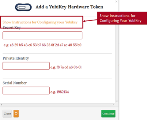 show instructions for configuring Yubikey