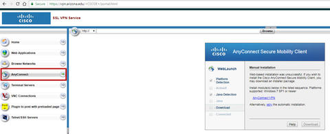 Cisco SSL VPN Service webpage