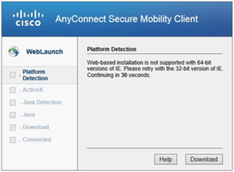 Cisco Platform Detection Screen