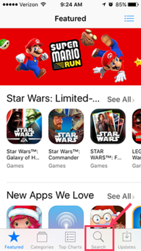 search in the app store