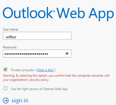 OWA sign-in screen