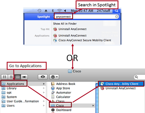 Spotlight or applications to find anyconnect