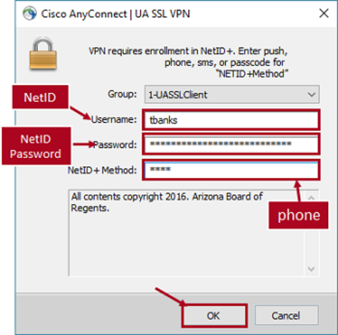 VPN login-enter netid, netid password, phone, click ok