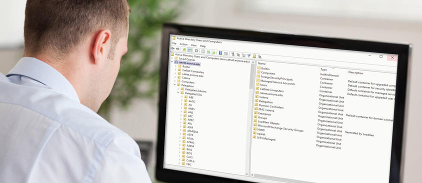 An image of a man working with the CatNet directory on a computer