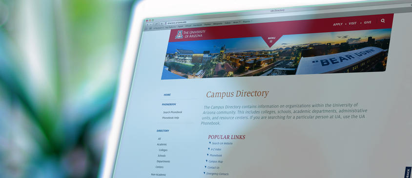 An image of the campus directory on a computer screen