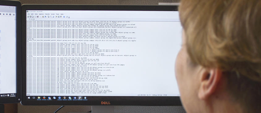 An image of a woman viewing a firewall interface