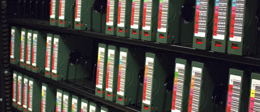 An image of backup tapes in storage