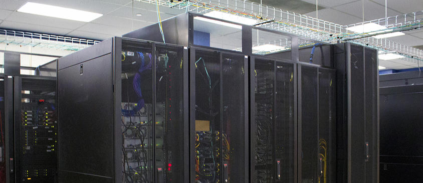 An image of servers in the Research Computing colocation facility