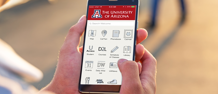 An image of the Arizona mobile application being used on a smartphone