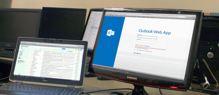 An image of computer screen with Outlook Web Access page displayed