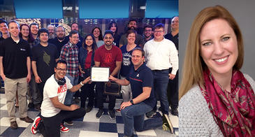 the UA Digital Team posing with certificate, and a photo of Dana Hertzberg