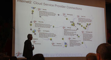 Sun Corridor Network Executive Director Michael Sherman shows Internet2 connections