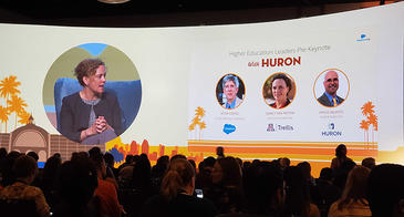 Darcy Van Patten on the big screen on the Salesforce summit page