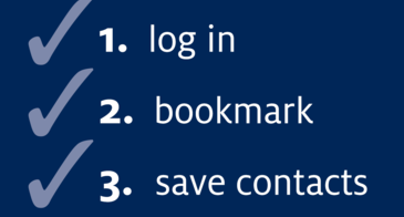1. Log in. 2. Bookmark. 3. Save contacts.